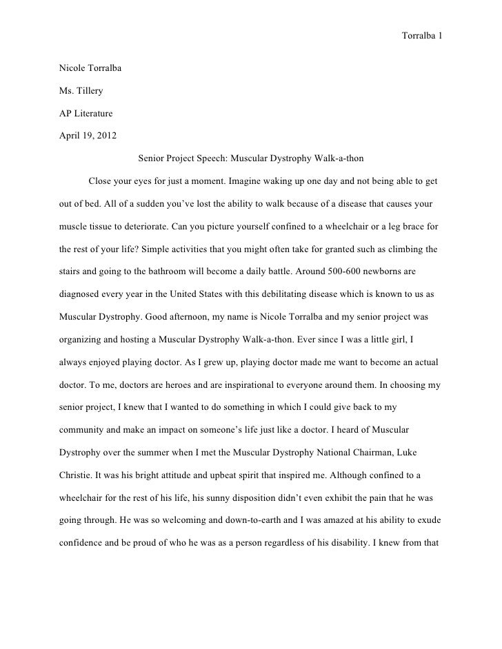 Torralba 1Nicole TorralbaMs. TilleryAP LiteratureApril 19, 2012                    Senior Project Speech: Muscular Dystrop...