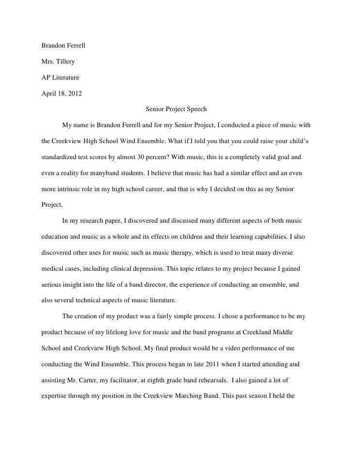 Brandon FerrellMrs. TilleryAP LiteratureApril 18, 2012                                       Senior Project Speech       M...
