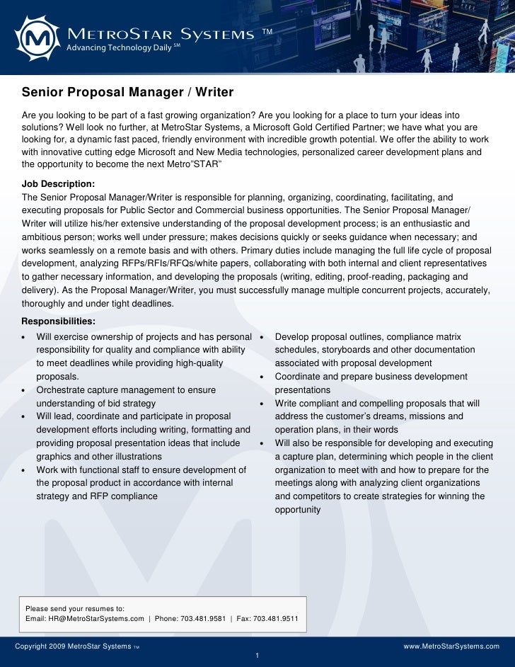senior proposal manager