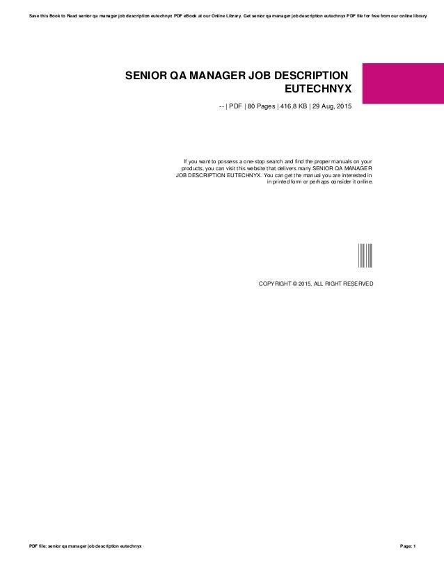 Senior qa manager job description eutechnyx