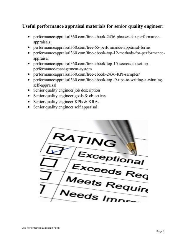 Senior Quality Engineer Performance Appraisal Job Performance Evaluation  Form Page 1; 2.