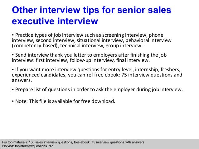 Senior sales executive interview questions and answers