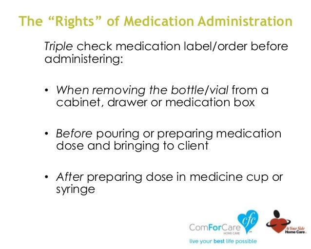 Triple check medication label/order before administering: • When removing the bottle/vial from a cabinet, drawer or medica...