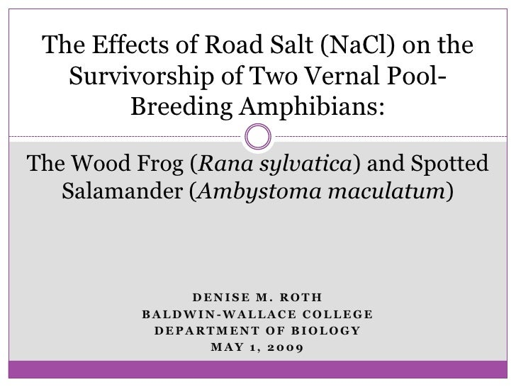 The Effects of Road Salt (NaCl) on the Survivorship of Two Vernal Pool-Breeding Amphibians: <br />The Wood Frog (Rana sylv...