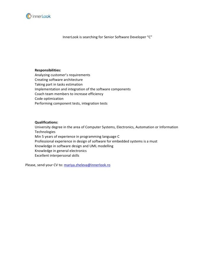 innerlook is searching for senior software developer c responsibilities analyzing customers requirements c. Resume Example. Resume CV Cover Letter