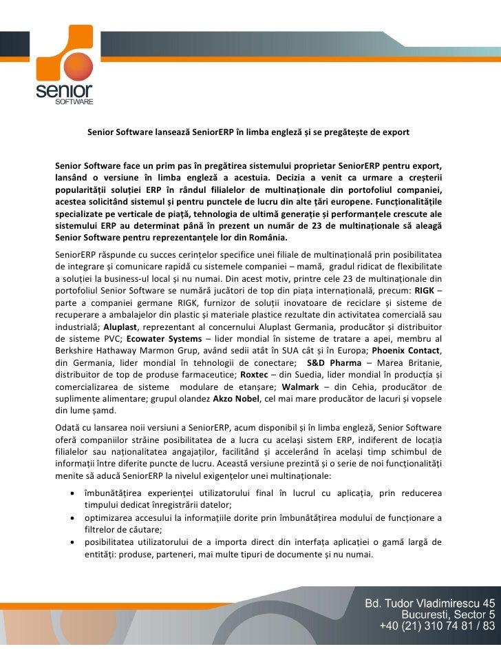 Senior Software lansează SeniorERP în limba engleză și se pregătește de exportSenior Software face un prim pas în pregătir...