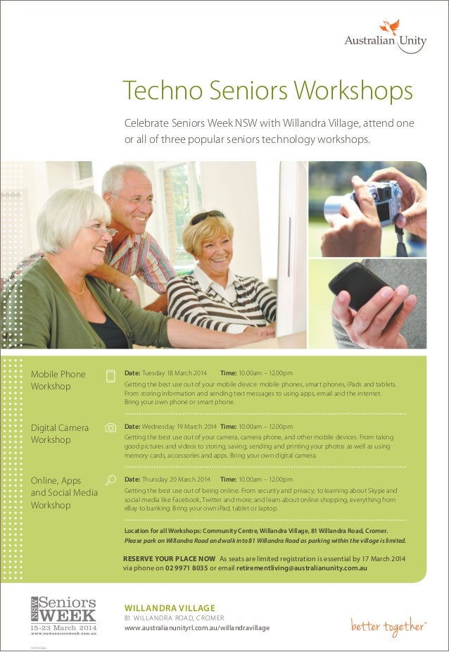 Techno Seniors Workshops Celebrate Seniors Week NSW with Willandra Village, attend one or all of three popular seniors tec...