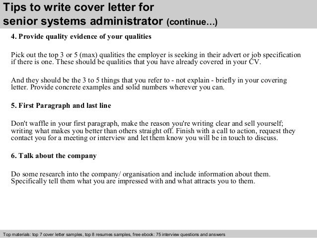 4 Tips To Write Cover Letter For Senior Systems Administrator
