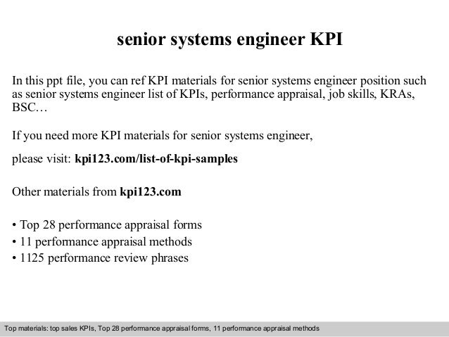 senior systems engineer kpi