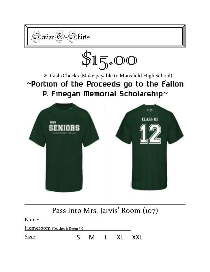Senior T-Shirts Order Form