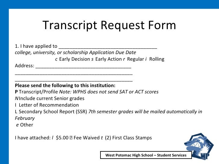 Transcript Request Form ...