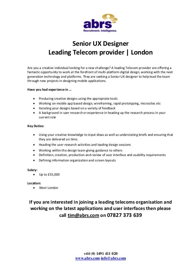 Senior Ux Designer Job In London See Tim Abrs
