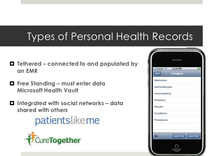 personal health records essay Analysis of epic personal health records system 1551 words | 6 pages and portals, 2013) part 2 - a personal health record, or phr, is a health record in which the data and information are maintained not by the clinic or provider, but by the patient.