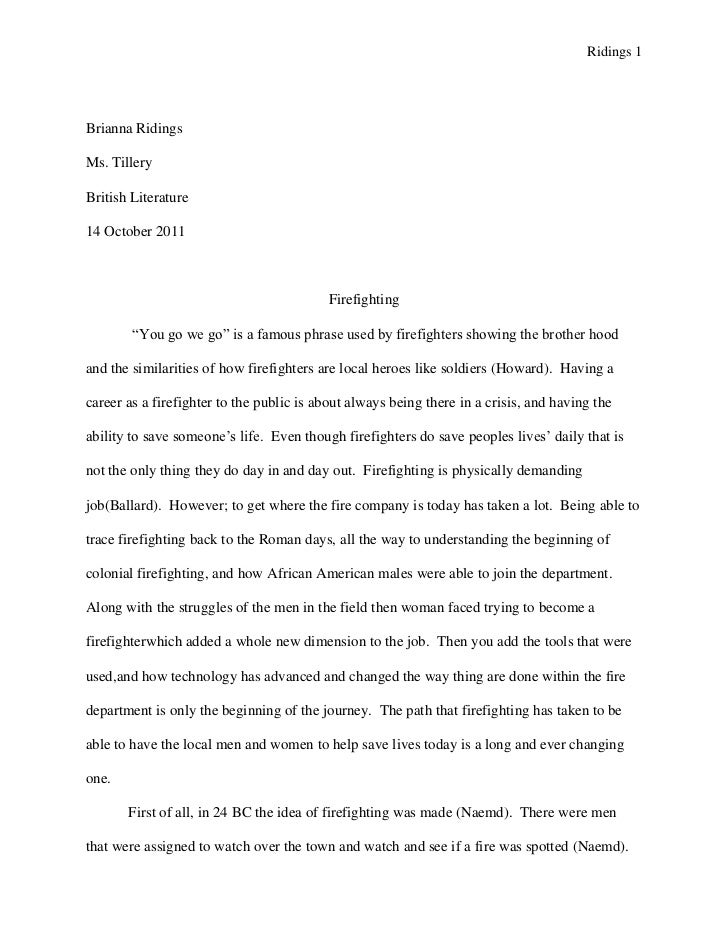 Example Of Persuasive Essay On Global Warming Ridings Brianna Ridingsms Tillerybritish Literature October   Firefighting Sample Observation Essay also Example Of Profile Essay Senior Project Research Paper Scholarship Essay Format Heading