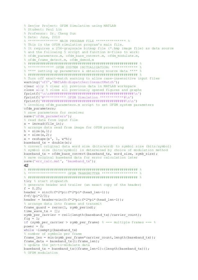 % Senjor Project: OFDM Simulation using MATLAB % Student: Paul Lin % Professor: Dr. Cheng Sun % Date: June, 2010 % *******...