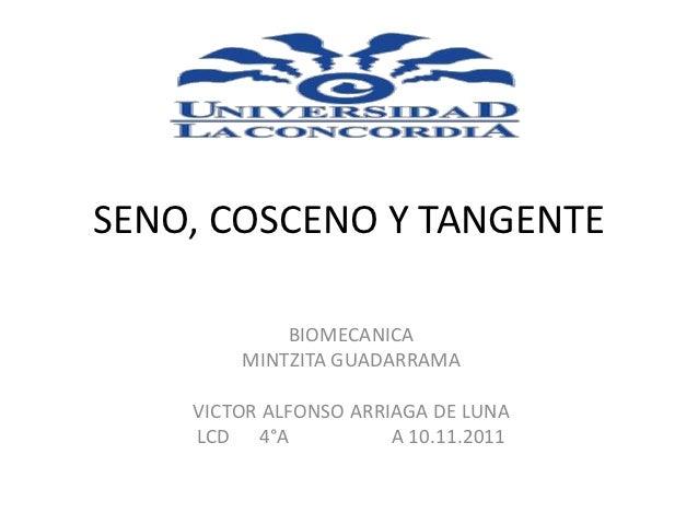 SENO, COSCENO Y TANGENTE            BIOMECANICA        MINTZITA GUADARRAMA    VICTOR ALFONSO ARRIAGA DE LUNA    LCD 4°A   ...