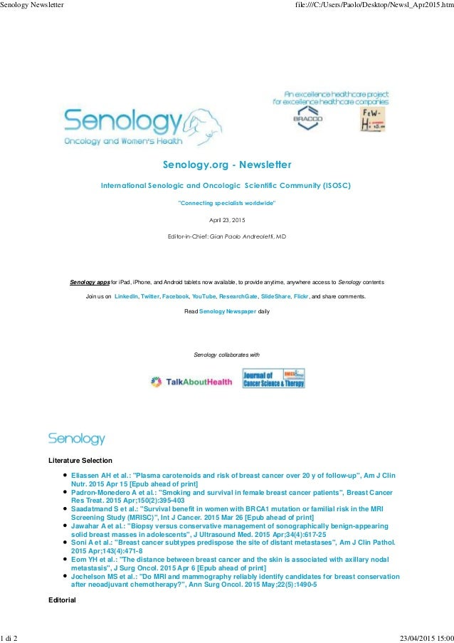 """Senology.org - Newsletter International Senologic and Oncologic Scientific Community (ISOSC) """"Connecting specialists world..."""