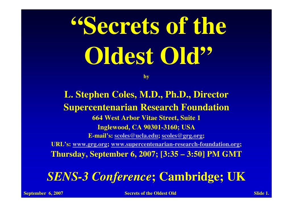 """""""Secrets of the                       Oldest Old""""                                              by                       L...."""