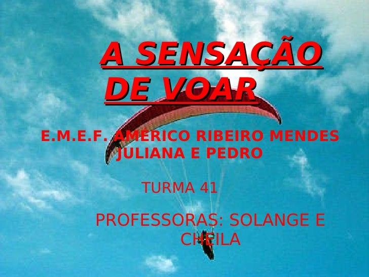A SENSAÇÃO DE VOAR PROFESSORAS: SOLANGE E CHEILA TURMA 41 E.M.E.F. AMÉRICO RIBEIRO MENDES JULIANA E PEDRO A SENSAÇÃO DE VOAR