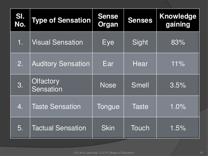 Types of Sensation