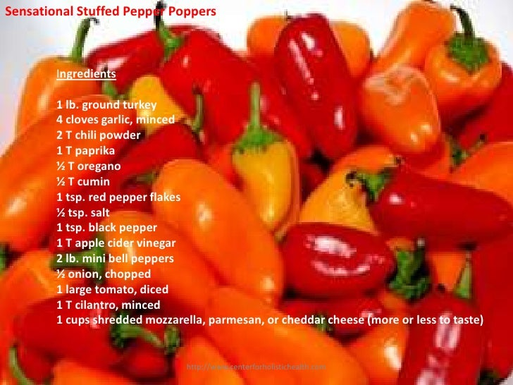 Sensational Stuffed Pepper Poppers        Ingredients        1 lb. ground turkey        4 cloves garlic, minced        2 T...