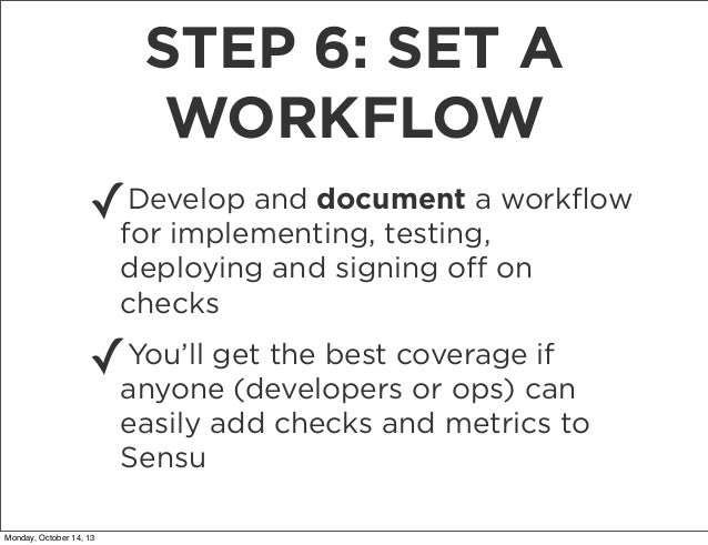 STEP 6: SET A WORKFLOW ✓  Develop and document a workflow for implementing, testing, deploying and signing off on checks  ✓ ...