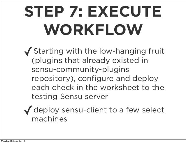 STEP 7: EXECUTE WORKFLOW Starting with the low-hanging ✓(plugins that already existed infruit sensu-community-plugins repo...