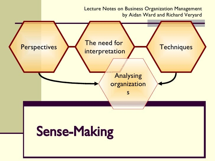 Sense-Making The need for  interpretation Perspectives Techniques Analysing organizations