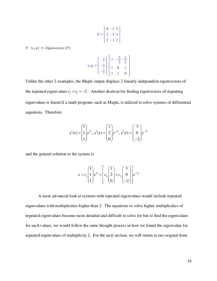 Senior Seminar: Systems of Differential Equations