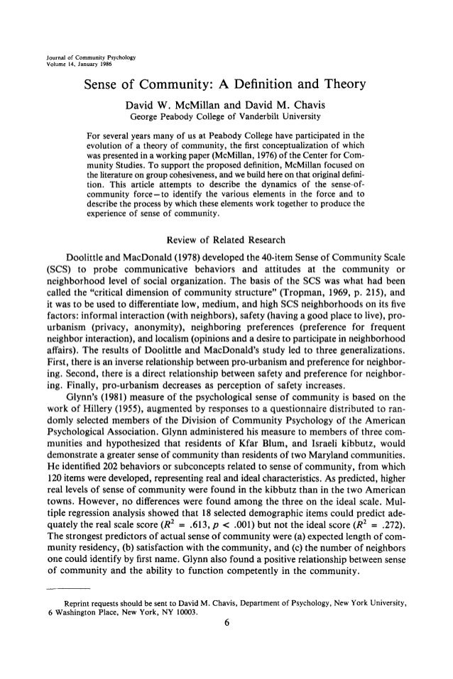 Journal of Community Psychology Volume 14, January 1986 Sense of Community: A Definition and Theory David W. McMillan and ...