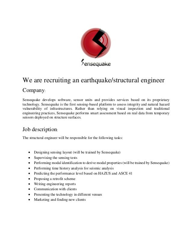 We Are Recruiting An Earthquake/structural Engineer Company: Sensequake  Develops Software, Sensor Units ...