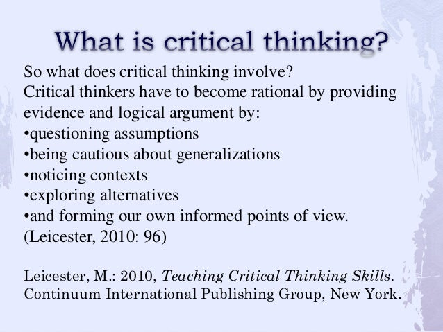 Essay on critical thinking skills