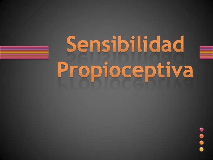 Sensibilidad Propioceptiva<br />