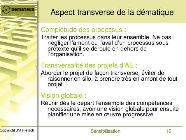 15Copyright JM Rietsch Aspect transverse de la dématique Complétude des processus : Traiter les processus dans leur ensemb...