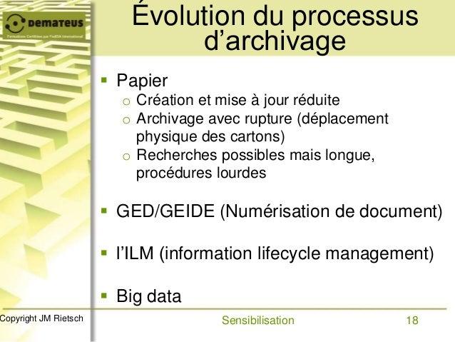 18Copyright JM Rietsch Évolution du processus d'archivage  Papier o Création et mise à jour réduite o Archivage avec rupt...