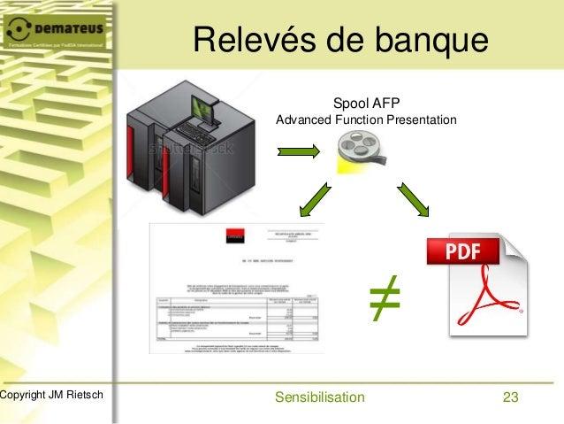 23Copyright JM Rietsch Relevés de banque Sensibilisation Spool AFP Advanced Function Presentation ≠