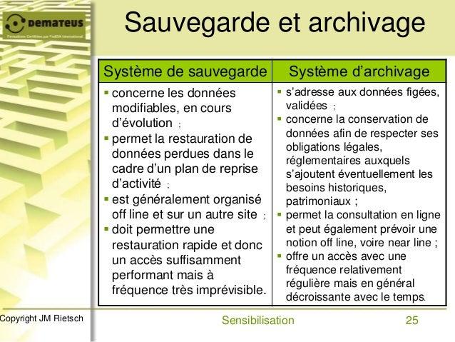 25Copyright JM Rietsch Sauvegarde et archivage Système de sauvegarde Système d'archivage  concerne les données modifiable...