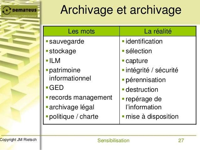 27Copyright JM Rietsch Archivage et archivage Les mots La réalité sauvegarde stockage ILM patrimoine informationnel G...