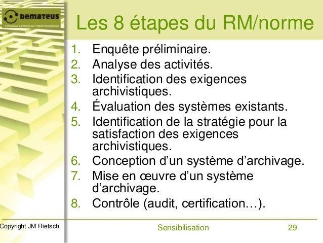29Copyright JM Rietsch Les 8 étapes du RM/norme 1. Enquête préliminaire. 2. Analyse des activités. 3. Identification des e...