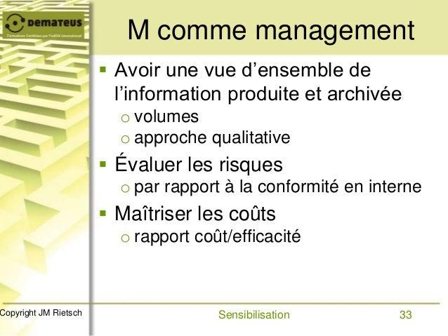 33Copyright JM Rietsch M comme management  Avoir une vue d'ensemble de l'information produite et archivée o volumes o app...