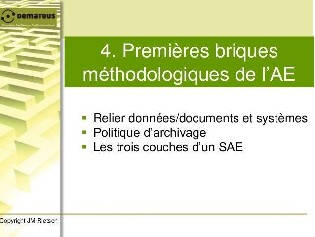 4. Premières briques méthodologiques de l'AE  Relier données/documents et systèmes  Politique d'archivage  Les trois co...