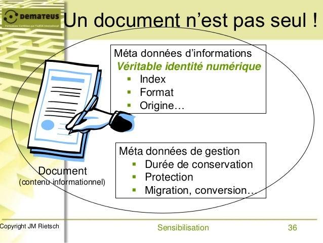 36Copyright JM Rietsch Un document n'est pas seul ! Méta données d'informations Véritable identité numérique  Index  For...