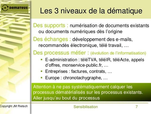 7Copyright JM Rietsch Les 3 niveaux de la dématique Des supports : numérisation de documents existants ou documents numéri...