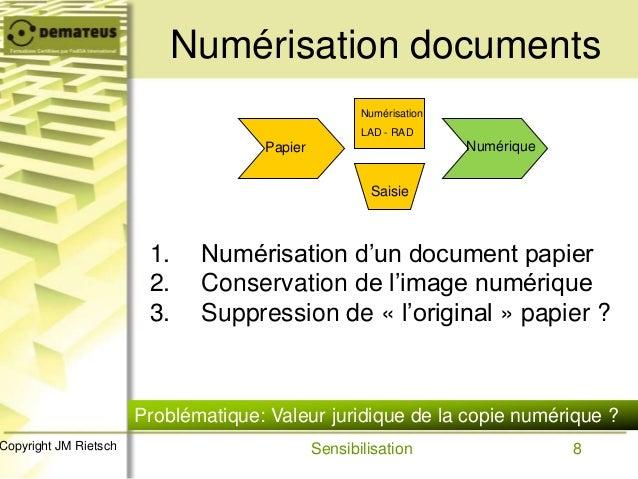 8Copyright JM Rietsch Numérisation documents Papier Numérisation LAD - RAD Saisie Numérique 1. Numérisation d'un document ...