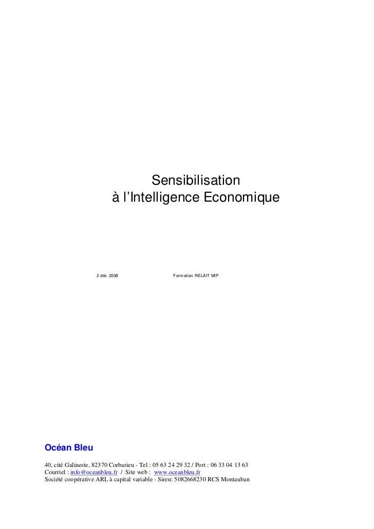 Sensibilisation                           à l'Intelligence Economique                    2 déc 2008                     Fo...