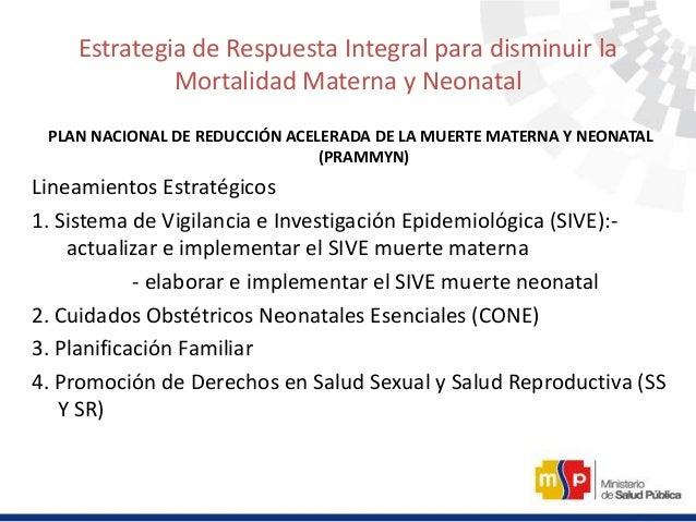 Estrategia de Respuesta Integral para disminuir la Mortalidad Materna y Neonatal PLAN NACIONAL DE REDUCCIÓN ACELERADA DE L...