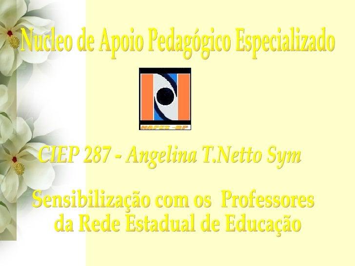 CIEP 287 - Angelina T.Netto Sym Nucleo de Apoio Pedagógico Especializado Sensibilização com os  Professores da Rede Estadu...