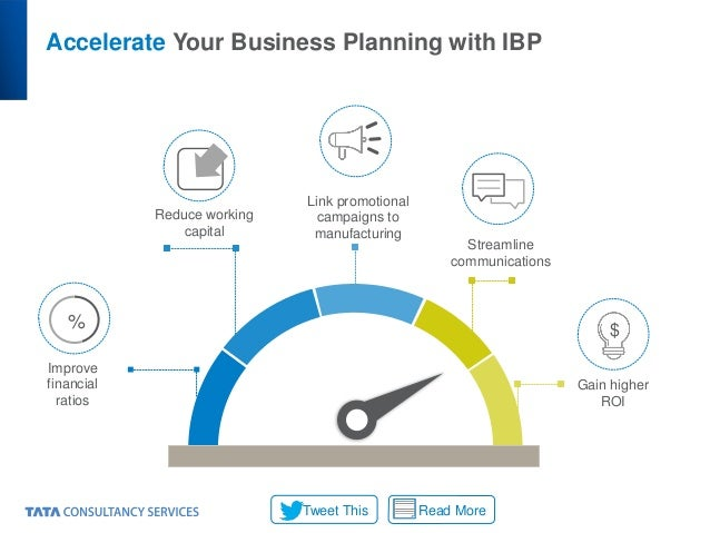 Accelerate Your Business Planning with IBP Improve financial ratios Reduce working capital Link promotional campaigns to m...