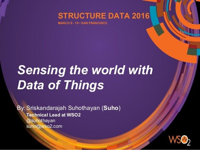Sensing the world with Data of Things By:Sriskandarajah Suhothayan (Suho) Technical Lead at WSO2 @suhothayan suho@wso2.com...