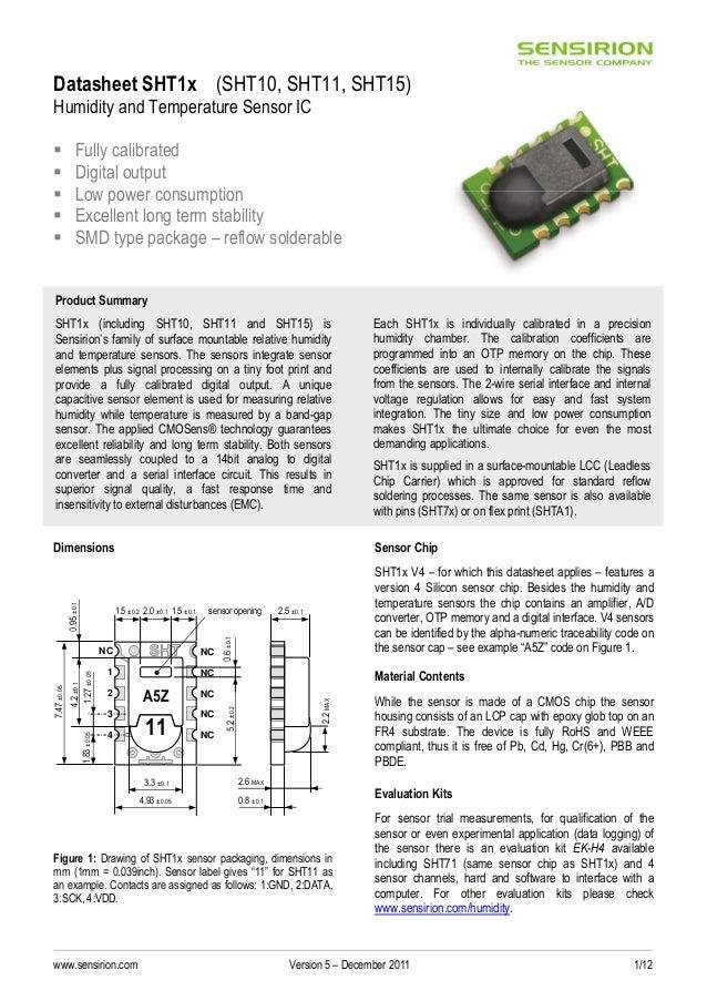 Sensirion humidity sensors_sht1x_datasheet_v5
